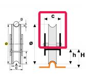 Koliesko koľajovej brány na skrutkovanie zapustené, pre koľajnicu Ø20 tvar U
