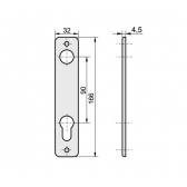Kľučka kovová s dvomi štítmi s osovou vzdialenosťou 90mm