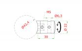 Bočný úchyt lanka ø5mm, so zaistením, na trubku ø42,4mm, nerezový