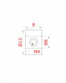 Úchyt 6/12x8mm, pre nerezové lanko, brúsená nerez K320, INOX AISI304