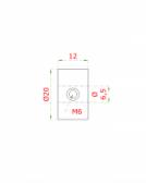 Úchyt 6,5/20x12mm, pre nerezové lanko, brúsená nerez K320, INOX AISI304