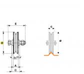 Koliesko koľajovej brány samostatné tvar V - ø 160mm, dvojložiskové