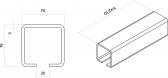 INOX C-profil 76x76x3 mm