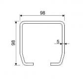 C-profil 98x98x5 mm, Zn - žiarovo pozinkovaný