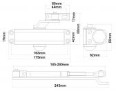 Hydraulický zatvárač (163x42x62mm) max.dl. 900mm / 60kg