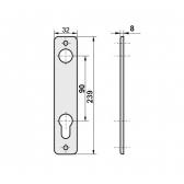 Kľučka hliníková s dvomi štítmi s osovou vzdialenosťou 90mm