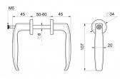 Kľučka hliníková čierna pre dvere/profil 50-60 mm
