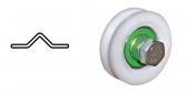 Koliesko koľajovej brány samostatné, nylonové, tvar V