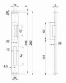 Elektrozámok s nerezovou lištou pre jazýček zámku bránky, ZE-05-INOX, AC/DC