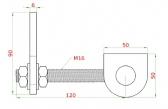 Nerezový záves na privarenie M16, 180°