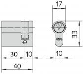 Polovičná vložka pre elektrozámky VIRO - 40 mm