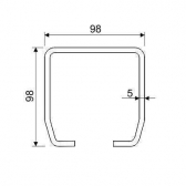 C-profil 98x98x5 mm, Inox - nerezový