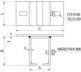 Horný úchyt pre závesný C-profil 42x52x2,5, INOX