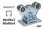 Vozík 5 roliek pre C-58x58x3mm regulovateľný-výškovo nastaviteľný