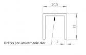 Hliníkový uchytávací profil pre lamely, tvar U, šírka 20,5 mm, dĺžka 6 m