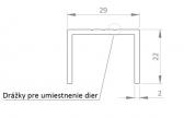 Hliníkový uchytávací profil pre lamely, tvar U, šírka 29 mm, dĺžka 6 m