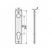 Kľučka hliníková s dvomi štítmi s osovou vzdialenosťou 72mm