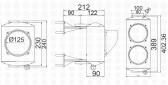 Dvojkomorový semafor, žiarovka E27, hliník, 230V, IP65