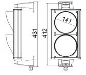 Dvojkomorový semafor, LED, hliník, 230V, IP65