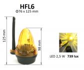 Oranžové výstražné LED svetlo s anténou 12/24/230V - HFL6