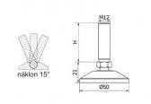Nivelačná noha ø50mm - kĺbová, plastová, nastavitelná závitom