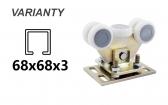 Vozík výkyvný s reguláciou, 5 roliek s montážnou doskou pre C-profil 68x68x3
