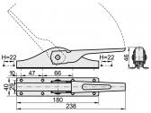 Uzatvárací pákový systém, pre riadiacu tyč 12x12mm