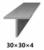 Oceľová tyč tvaru T 30x30x4 (T-profil), bez povrchovej úpravy