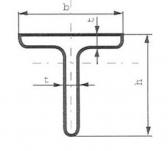 Oceľová tyč tvaru T 40x40x5 (T-profil), bez povrchovej úpravy