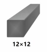 Hranatá štvorcová plná oceľová tyč 12x12 mm (štvorhran), bez povrchovej úpravy