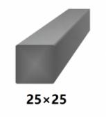 Hranatá štvorcová plná oceľová tyč 25x25 mm (štvorhran), bez povrchovej úpravy