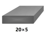 Plochá plná oceľová tyč 20x5 mm (pásovina), bez povrchovej úpravy