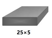 Plochá plná oceľová tyč 25x5 mm (pásovina), bez povrchovej úpravy