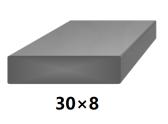 Plochá plná oceľová tyč 30x8 mm (pásovina), bez povrchovej úpravy