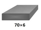 Plochá plná oceľová tyč 70x6 mm (pásovina), bez povrchovej úpravy