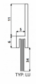 Hliníková tesniaca lišta s nylonovou kefou, vlas dĺžky 34 mm, bočná