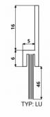 Hliníková tesniaca lišta s nylonovou kefou, vlas dĺžky 46 mm, bočná, 1m