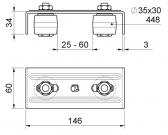 Vrchné vedenie s dvomi regulovatelnými nylonovými rolkami 35x30mm