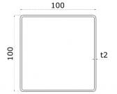 Uzatvorený profil 100x100x2mm, nerezový