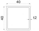 Uzatvorený profil 40x40x2mm, nerezový