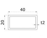 Uzatvorený profil 40x20x2mm, nerezový