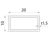 Uzatvorený profil 20x10x1,5mm, nerezový