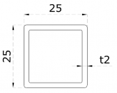 Uzatvorený profil 25x25x2mm, nerezový
