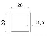 Uzatvorený profil 20x20x1,5mm, nerezový