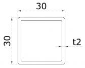 Uzatvorený profil 30x30x2mm, nerezový