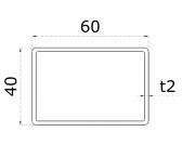 Uzatvorený profil 60x40x2mm, nerezový