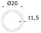 Nerezová trubka 20x1,5mm, brúsená nerez