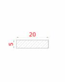 Nerezová plochá tyč 20x5mm (pásovina), brúsená nerez