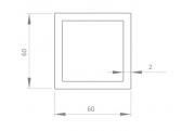 Hliníkový jokel štvorcový 60x60x2 mm