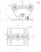 Vozík pre posuvnú bránu s 5 rolkami pre C-profil 68x68x3